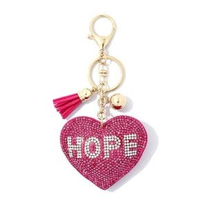 Accessories - FIGHT CANCER PINK HOPE PUFFY BLING KEY CHAIN NWT